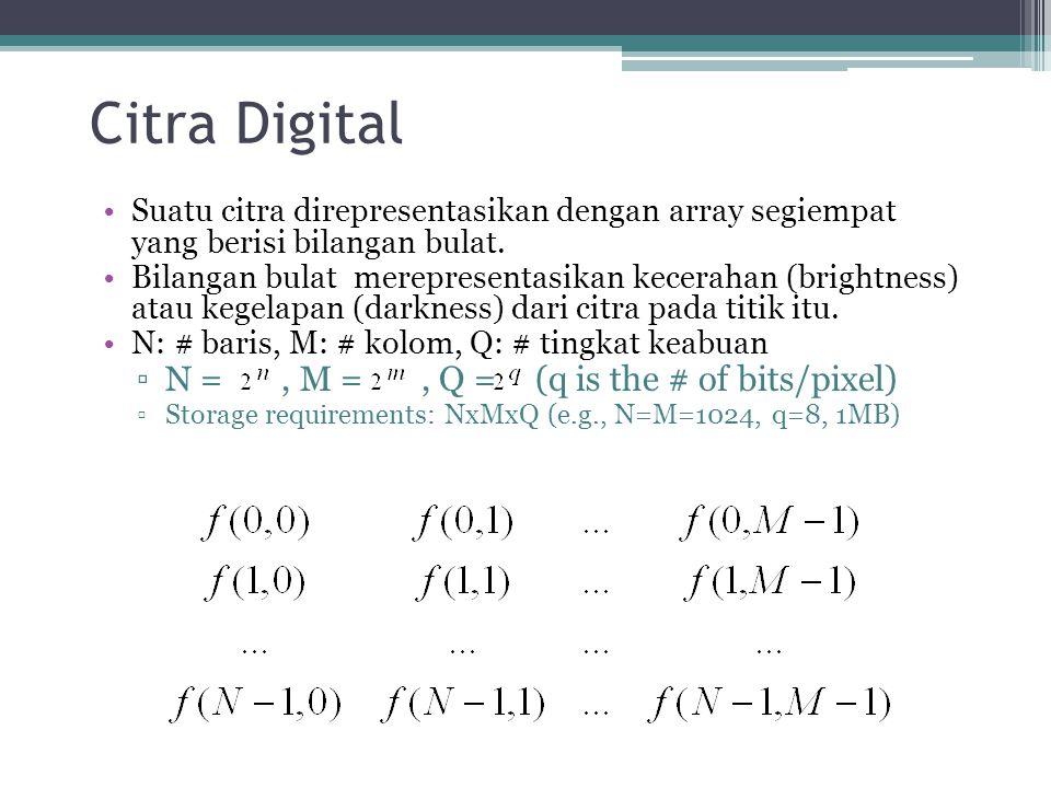 Citra Digital Suatu citra direpresentasikan dengan array segiempat yang berisi bilangan bulat. Bilangan bulat merepresentasikan kecerahan (brightness)