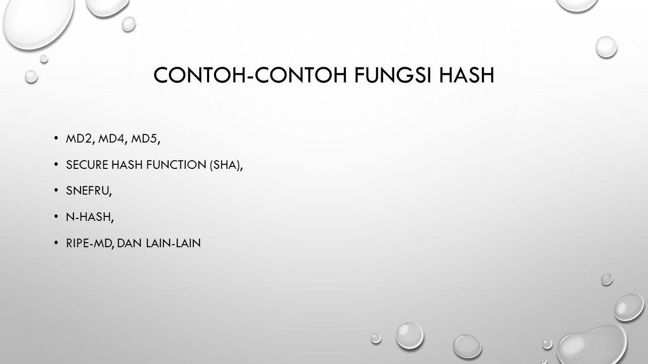CONTOH-CONTOH FUNGSI HASH MD2, MD4, MD5, SECURE HASH FUNCTION (SHA), SNEFRU, N-HASH, RIPE-MD, DAN LAIN-LAIN