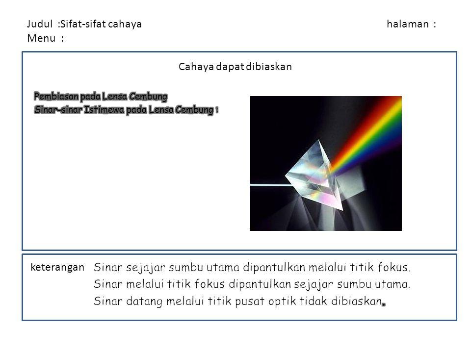 Judul :Sifat-sifat cahaya halaman : Menu : keterangan Cahaya dapat diuraikan