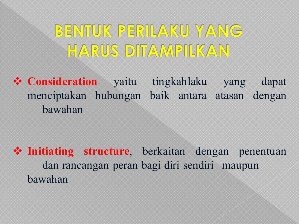  Consideration yaitu tingkahlaku yang dapat menciptakan hubungan baik antara atasan dengan bawahan  Initiating structure, berkaitan dengan penentuan