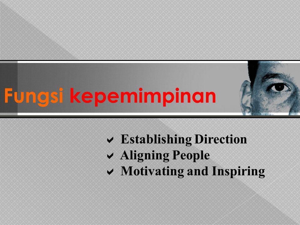 Fungsi kepemimpinan  Establishing Direction  Aligning People  Motivating and Inspiring