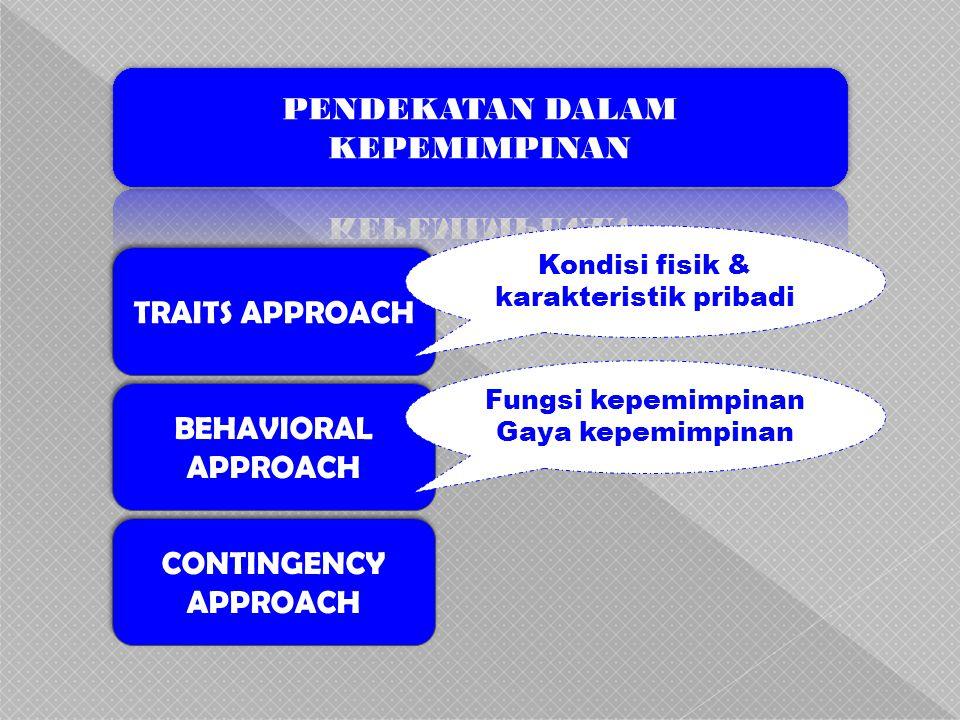 TRAITS APPROACH BEHAVIORAL APPROACH CONTINGENCY APPROACH Kondisi fisik & karakteristik pribadi Fungsi kepemimpinan Gaya kepemimpinan
