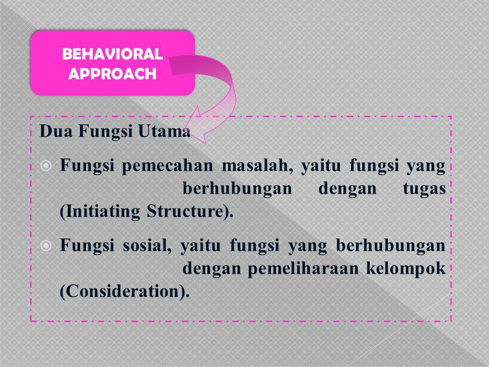 Dua Fungsi Utama  Fungsi pemecahan masalah, yaitu fungsi yang berhubungan dengan tugas (Initiating Structure).  Fungsi sosial, yaitu fungsi yang ber