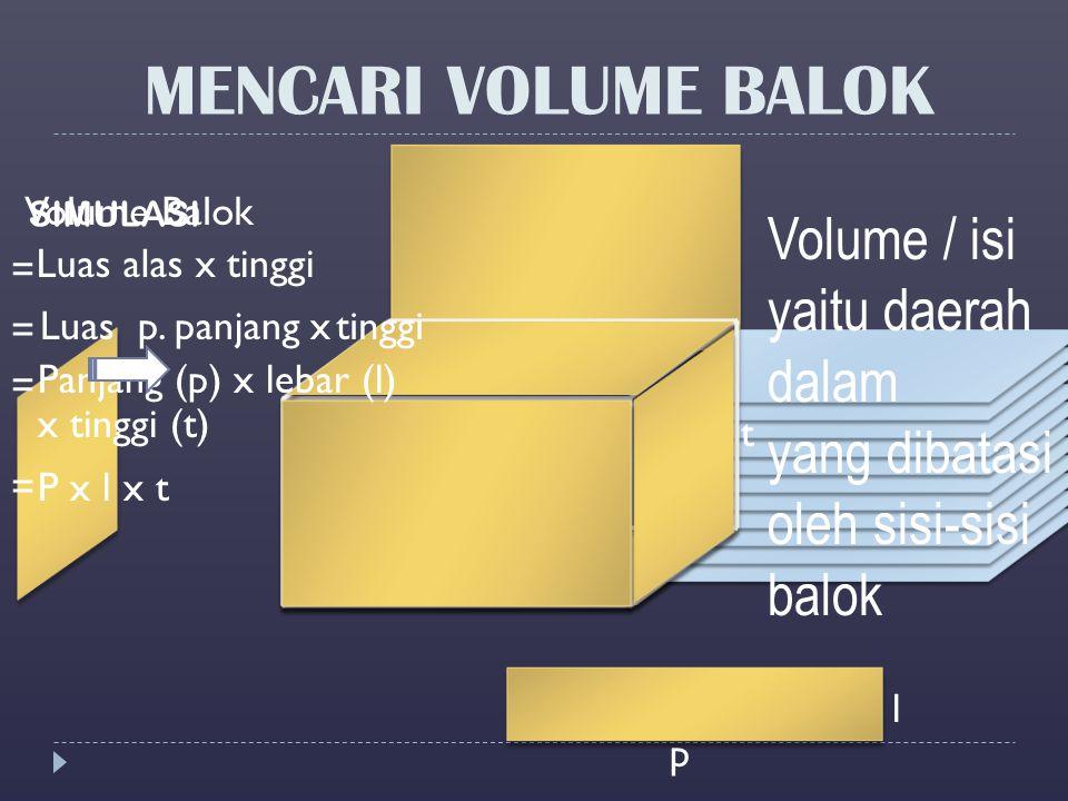 MENCARI VOLUME BALOK Volume / isi yaitu daerah dalam yang dibatasi oleh sisi-sisi balok SIMULASI Volume Balok Luas alas x Luas p. panjang x Panjang (p
