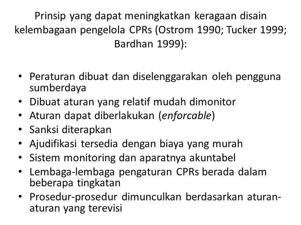Prinsip yang dapat meningkatkan keragaan disain kelembagaan pengelola CPRs (Ostrom 1990; Tucker 1999; Bardhan 1999): Peraturan dibuat dan diselenggara