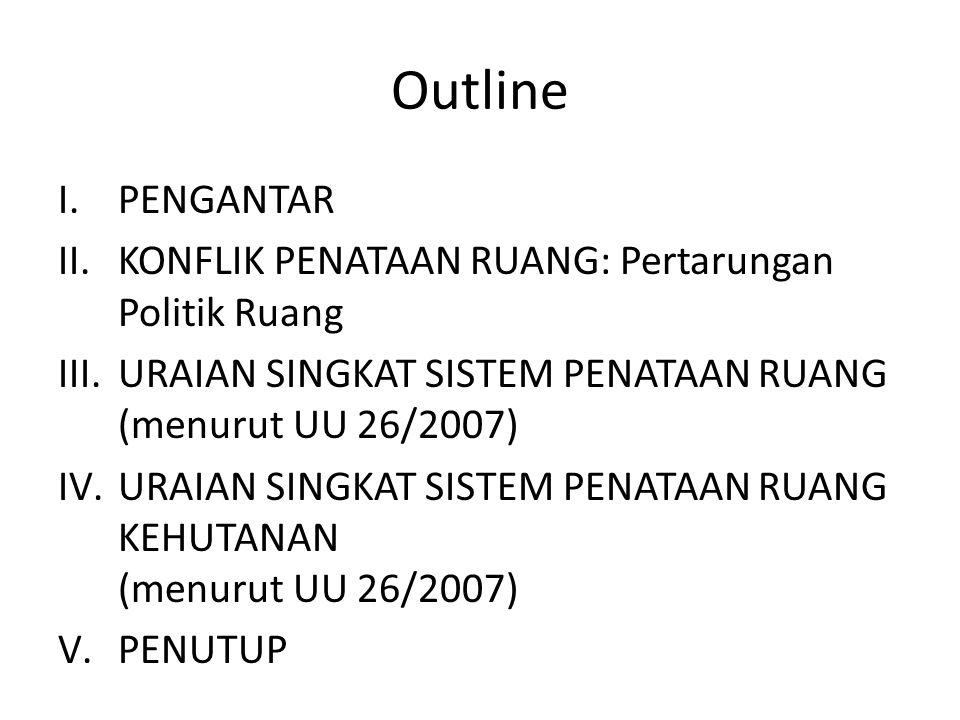 Outline I.PENGANTAR II.KONFLIK PENATAAN RUANG: Pertarungan Politik Ruang III.URAIAN SINGKAT SISTEM PENATAAN RUANG (menurut UU 26/2007) IV.URAIAN SINGK