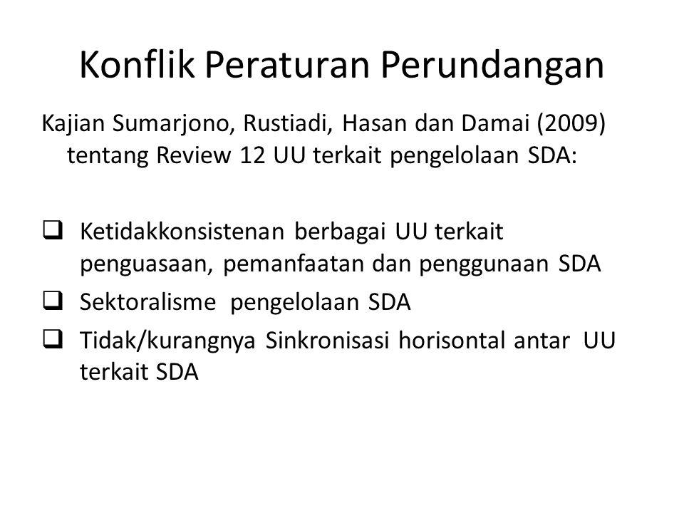Konflik Peraturan Perundangan Kajian Sumarjono, Rustiadi, Hasan dan Damai (2009) tentang Review 12 UU terkait pengelolaan SDA:  Ketidakkonsistenan be