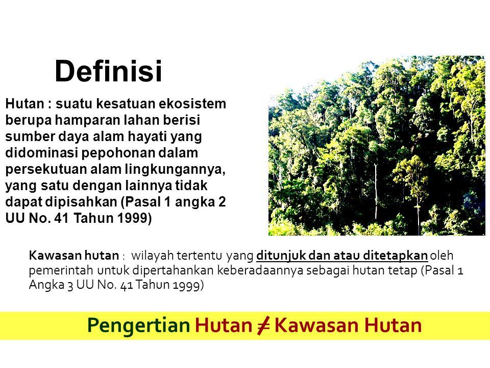Definisi Hutan : suatu kesatuan ekosistem berupa hamparan lahan berisi sumber daya alam hayati yang didominasi pepohonan dalam persekutuan alam lingku