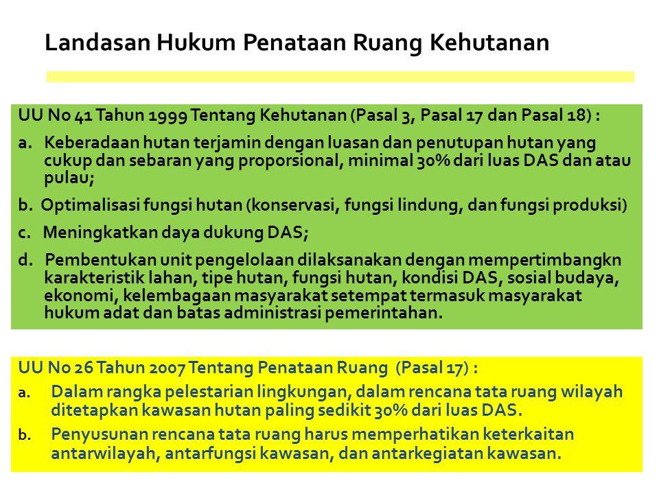 Landasan Hukum Penataan Ruang Kehutanan UU No 41 Tahun 1999 Tentang Kehutanan (Pasal 3, Pasal 17 dan Pasal 18) : a. Keberadaan hutan terjamin dengan l