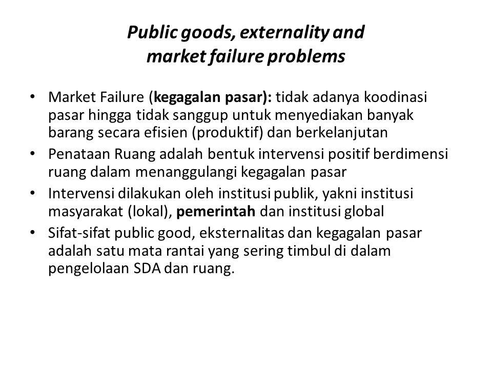 Public goods, externality and market failure problems Market Failure (kegagalan pasar): tidak adanya koodinasi pasar hingga tidak sanggup untuk menyed
