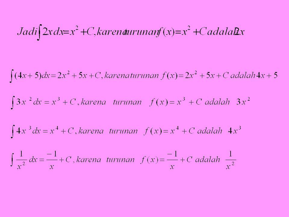 Pengertian: Mengintegral sebuah fungsi f(x) adalah mencari suatu fungsi yang turunannya f(x)
