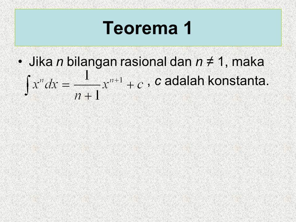 Teorema 1 Jika n bilangan rasional dan n ≠ 1, maka, c adalah konstanta.