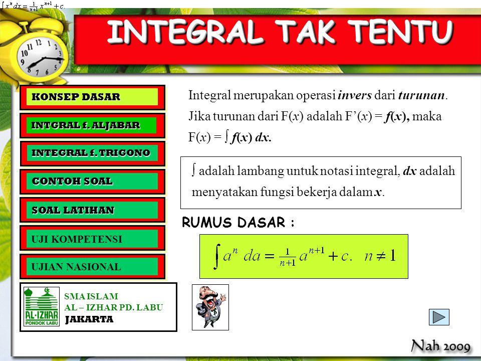 KOMPETENSI DASAR SMA ISLAM AL – IZHAR PD. LABU JAKARTA MMMMemahami konsep integral tak tentu dan integral tentu MMMMenghitung integral tak ten