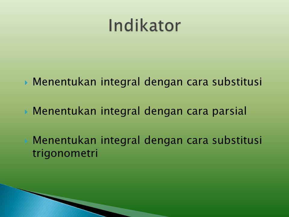  Standar Kompetensi: Menggunakan Integral Dalam Pemecahan Masalah Kompetensi Dasar: Menghitung integral tak tentu dan integral tentu dari fungsi alja