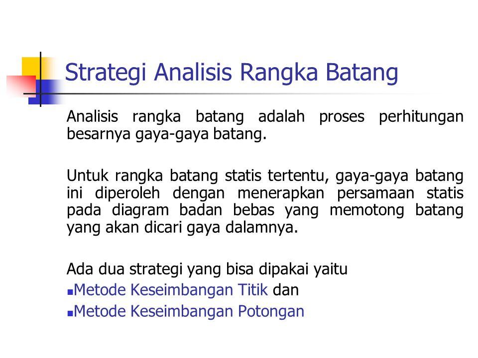 Strategi Analisis Rangka Batang Analisis rangka batang adalah proses perhitungan besarnya gaya-gaya batang.