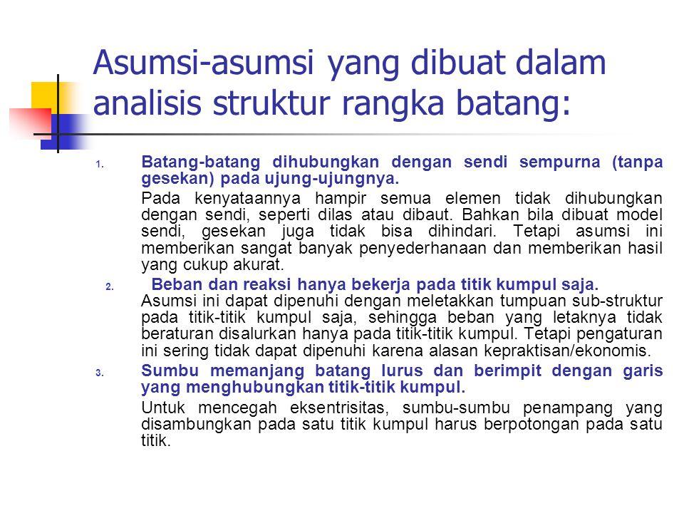 Asumsi-asumsi yang dibuat dalam analisis struktur rangka batang: 1.