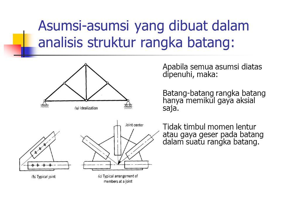 Asumsi-asumsi yang dibuat dalam analisis struktur rangka batang: Apabila semua asumsi diatas dipenuhi, maka: Batang-batang rangka batang hanya memikul gaya aksial saja.