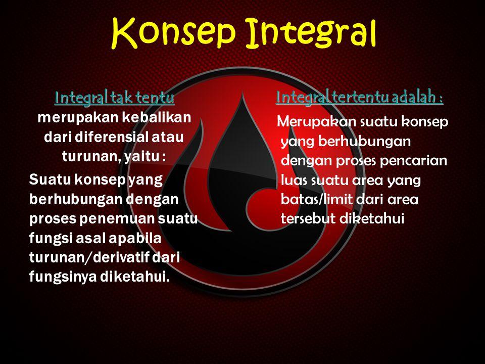 Konsep Integral Integral tak tentu Integral tak tentu Integral tak tentu Integral tak tentu merupakan kebalikan dari diferensial atau turunan, yaitu :