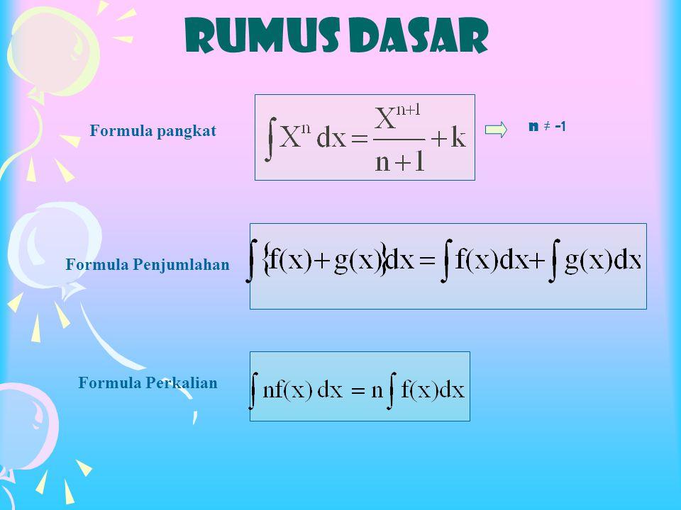 RUMUS DASAR Formula pangkat Formula Penjumlahan Formula Perkalian n ≠ -1