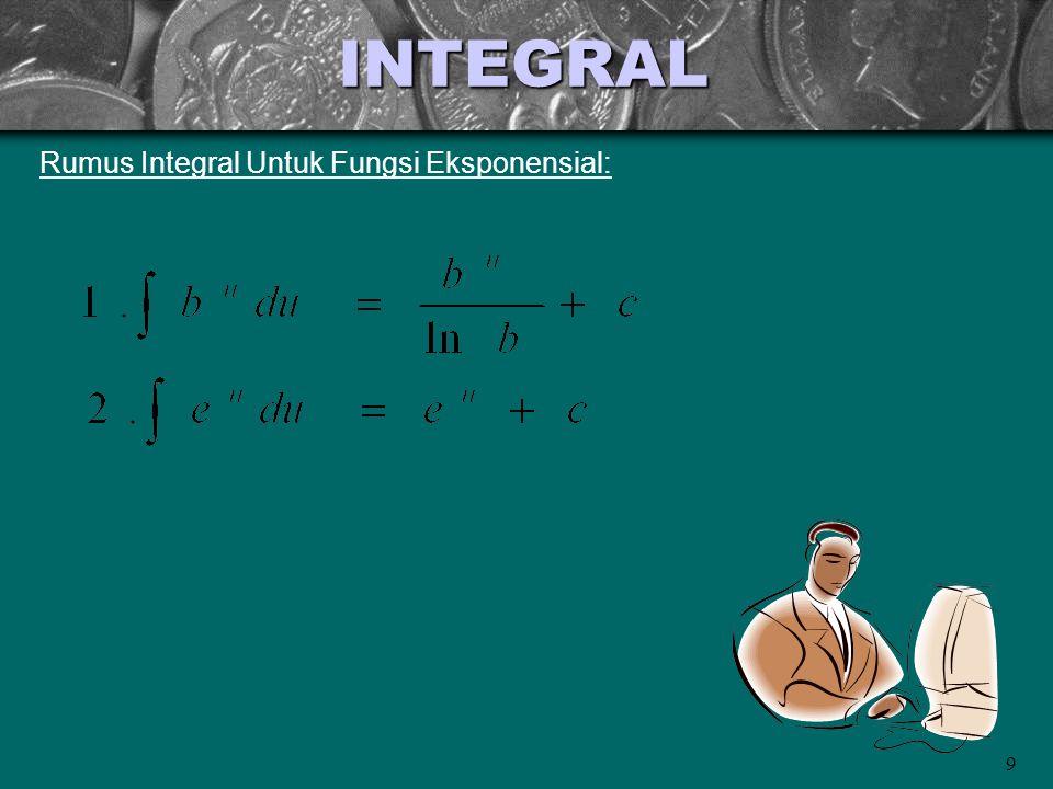 9 INTEGRAL Rumus Integral Untuk Fungsi Eksponensial: