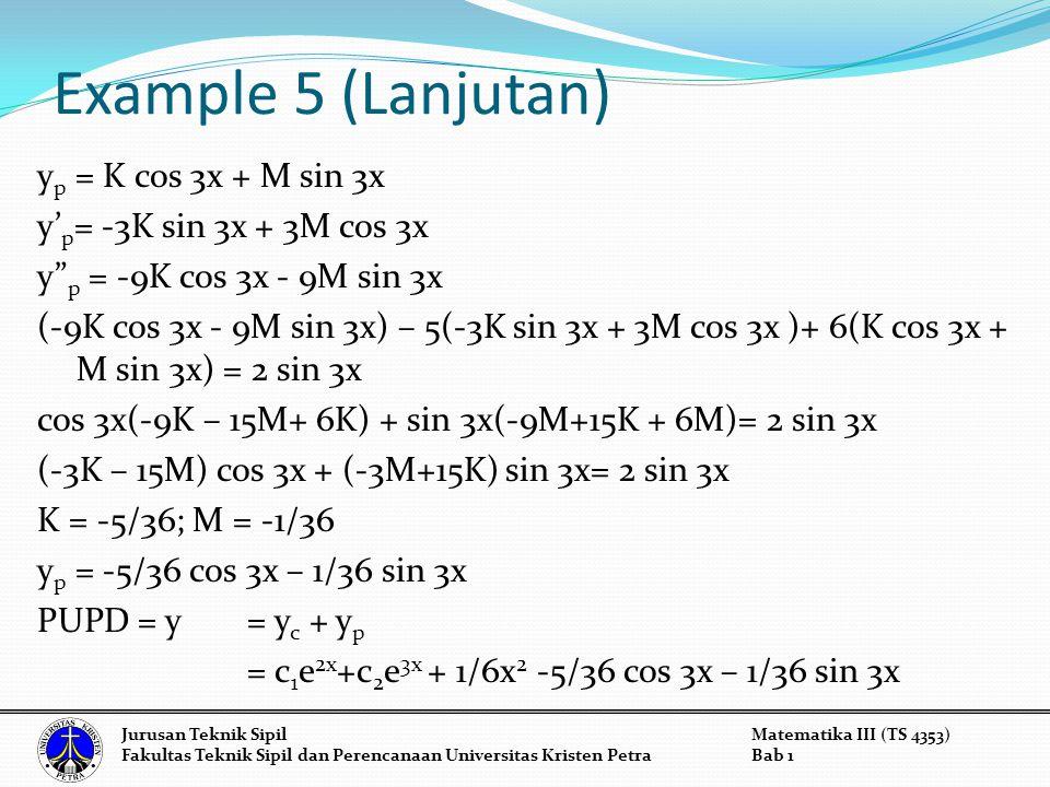 Example 5 (Lanjutan) Jurusan Teknik SipilMatematika III (TS 4353) Fakultas Teknik Sipil dan Perencanaan Universitas Kristen PetraBab 1 y p = K cos 3x