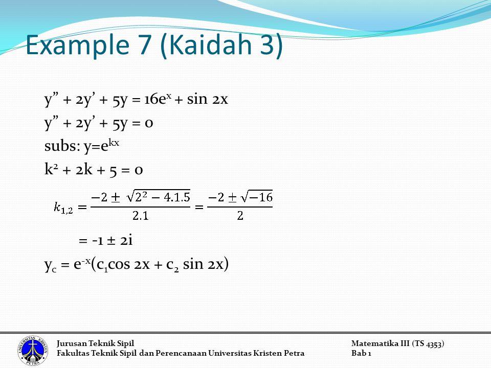 Example 7 (Kaidah 3) y + 2y' + 5y = 16e x + sin 2x y + 2y' + 5y = 0 subs: y=e kx k 2 + 2k + 5 = 0 = -1 ± 2i y c = e -x (c 1 cos 2x + c 2 sin 2x) Jurusan Teknik SipilMatematika III (TS 4353) Fakultas Teknik Sipil dan Perencanaan Universitas Kristen PetraBab 1