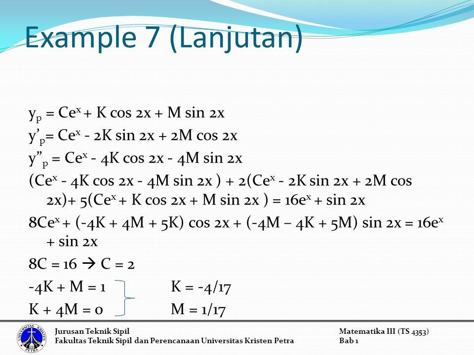 Example 7 (Lanjutan) y p = Ce x + K cos 2x + M sin 2x y' p = Ce x - 2K sin 2x + 2M cos 2x y p = Ce x - 4K cos 2x - 4M sin 2x (Ce x - 4K cos 2x - 4M sin 2x ) + 2(Ce x - 2K sin 2x + 2M cos 2x)+ 5(Ce x + K cos 2x + M sin 2x ) = 16e x + sin 2x 8Ce x + (-4K + 4M + 5K) cos 2x + (-4M – 4K + 5M) sin 2x = 16e x + sin 2x 8C = 16  C = 2 -4K + M = 1K = -4/17 K + 4M = 0M = 1/17 Jurusan Teknik SipilMatematika III (TS 4353) Fakultas Teknik Sipil dan Perencanaan Universitas Kristen PetraBab 1