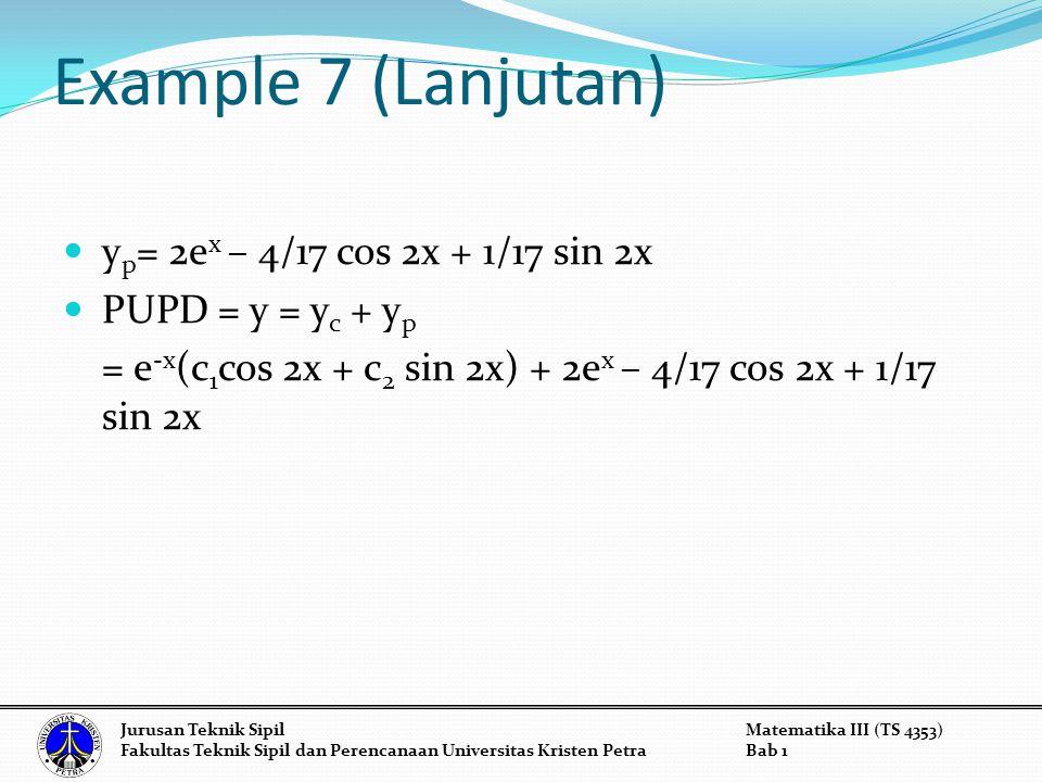 Example 7 (Lanjutan) y p = 2e x – 4/17 cos 2x + 1/17 sin 2x PUPD = y = y c + y p = e -x (c 1 cos 2x + c 2 sin 2x) + 2e x – 4/17 cos 2x + 1/17 sin 2x Jurusan Teknik SipilMatematika III (TS 4353) Fakultas Teknik Sipil dan Perencanaan Universitas Kristen PetraBab 1