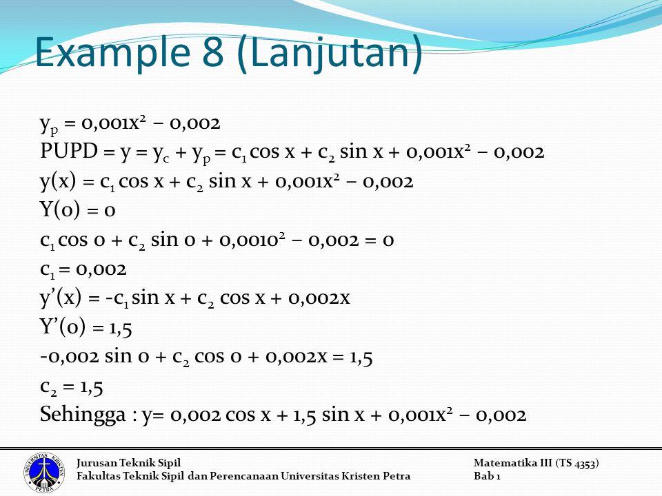 Example 8 (Lanjutan) y p = 0,001x 2 – 0,002 PUPD = y = y c + y p = c 1 cos x + c 2 sin x + 0,001x 2 – 0,002 y(x) = c 1 cos x + c 2 sin x + 0,001x 2 – 0,002 Y(0) = 0 c 1 cos 0 + c 2 sin 0 + 0,0010 2 – 0,002 = 0 c 1 = 0,002 y'(x) = -c 1 sin x + c 2 cos x + 0,002x Y'(0) = 1,5 -0,002 sin 0 + c 2 cos 0 + 0,002x = 1,5 c 2 = 1,5 Sehingga : y= 0,002 cos x + 1,5 sin x + 0,001x 2 – 0,002 Jurusan Teknik SipilMatematika III (TS 4353) Fakultas Teknik Sipil dan Perencanaan Universitas Kristen PetraBab 1