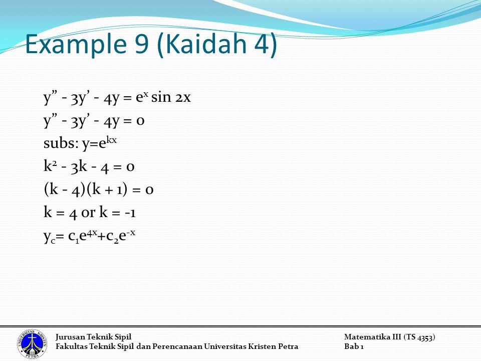 Example 9 (Kaidah 4) y - 3y' - 4y = e x sin 2x y - 3y' - 4y = 0 subs: y=e kx k 2 - 3k - 4 = 0 (k - 4)(k + 1) = 0 k = 4 or k = -1 y c = c 1 e 4x +c 2 e -x Jurusan Teknik SipilMatematika III (TS 4353) Fakultas Teknik Sipil dan Perencanaan Universitas Kristen PetraBab 1