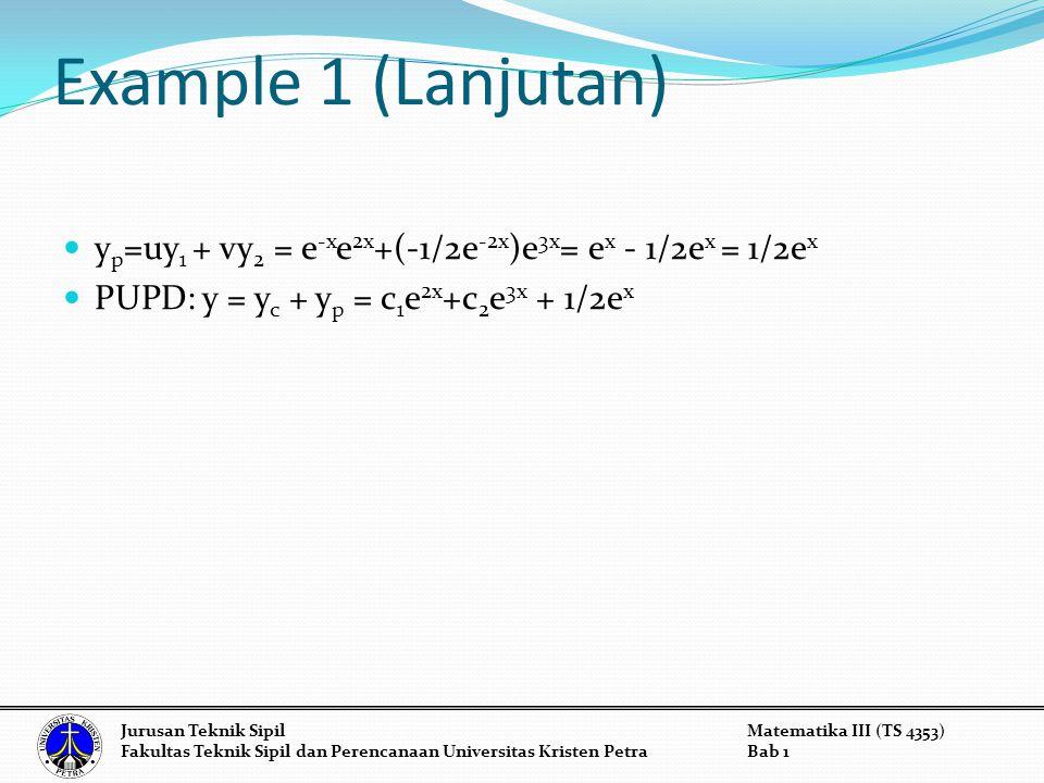 Example 1 (Lanjutan) y p =uy 1 + vy 2 = e -x e 2x +(-1/2e -2x )e 3x = e x - 1/2e x = 1/2e x PUPD: y = y c + y p = c 1 e 2x +c 2 e 3x + 1/2e x Jurusan Teknik SipilMatematika III (TS 4353) Fakultas Teknik Sipil dan Perencanaan Universitas Kristen PetraBab 1
