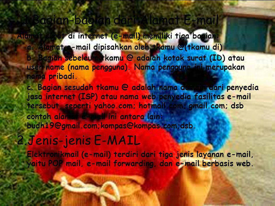1.Bagian-bagian dari Alamat E-mail Alamat surat di internet (e-mail) memiliki tiga bagian: a. Alamat e-mail dipisahkan oleh tkamu @(tkamu di) b. Bagia