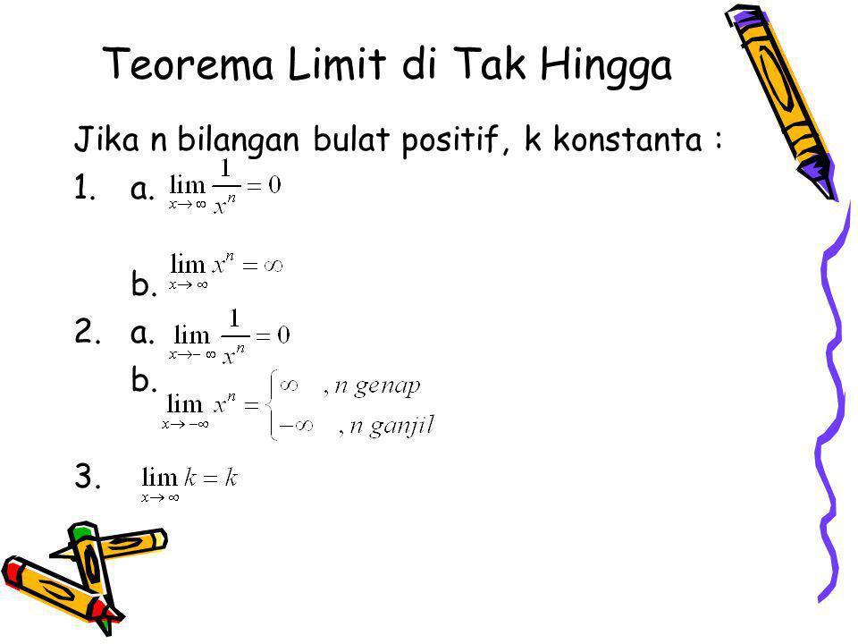 Teorema Limit di Tak Hingga Jika n bilangan bulat positif, k konstanta : 1.a. b. 2.a. b. 3.
