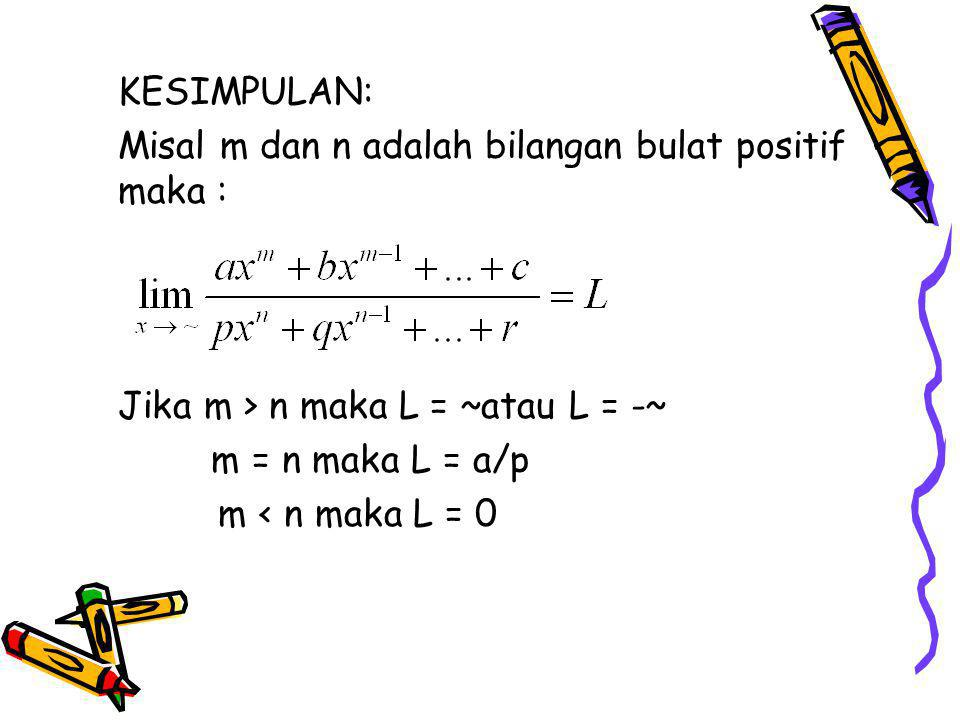 KESIMPULAN: Misal m dan n adalah bilangan bulat positif maka : Jika m > n maka L = ~atau L = -~ m = n maka L = a/p m < n maka L = 0
