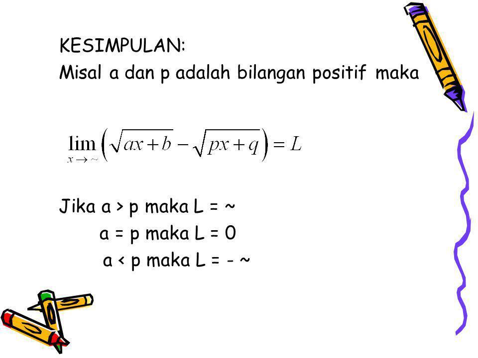 KESIMPULAN: Misal a dan p adalah bilangan positif maka Jika a > p maka L = ~ a = p maka L = 0 a < p maka L = - ~