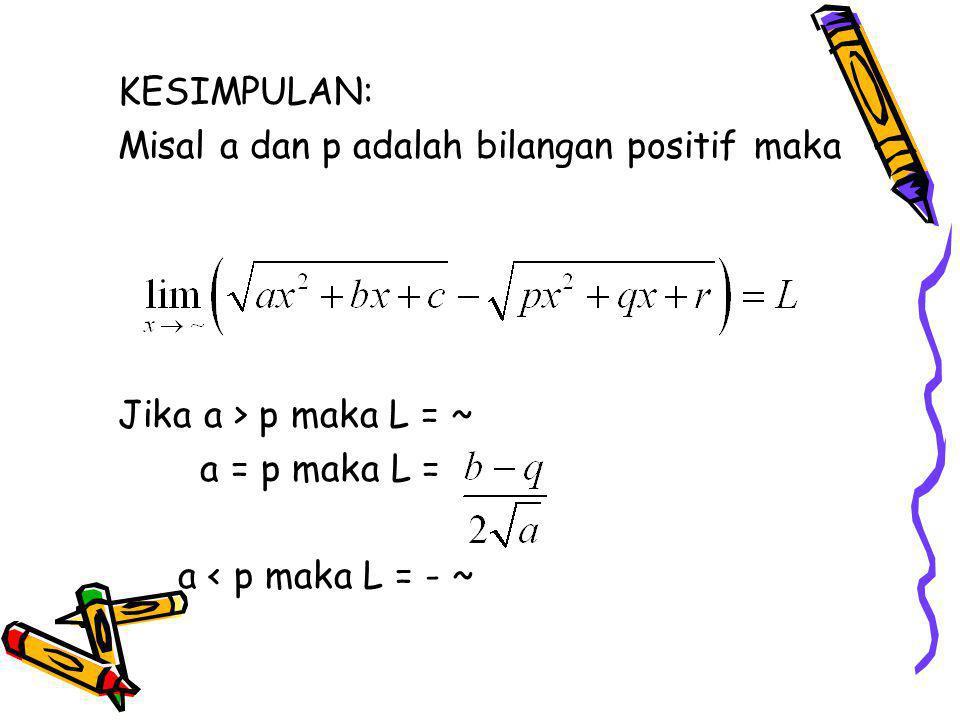 KESIMPULAN: Misal a dan p adalah bilangan positif maka Jika a > p maka L = ~ a = p maka L = a < p maka L = - ~