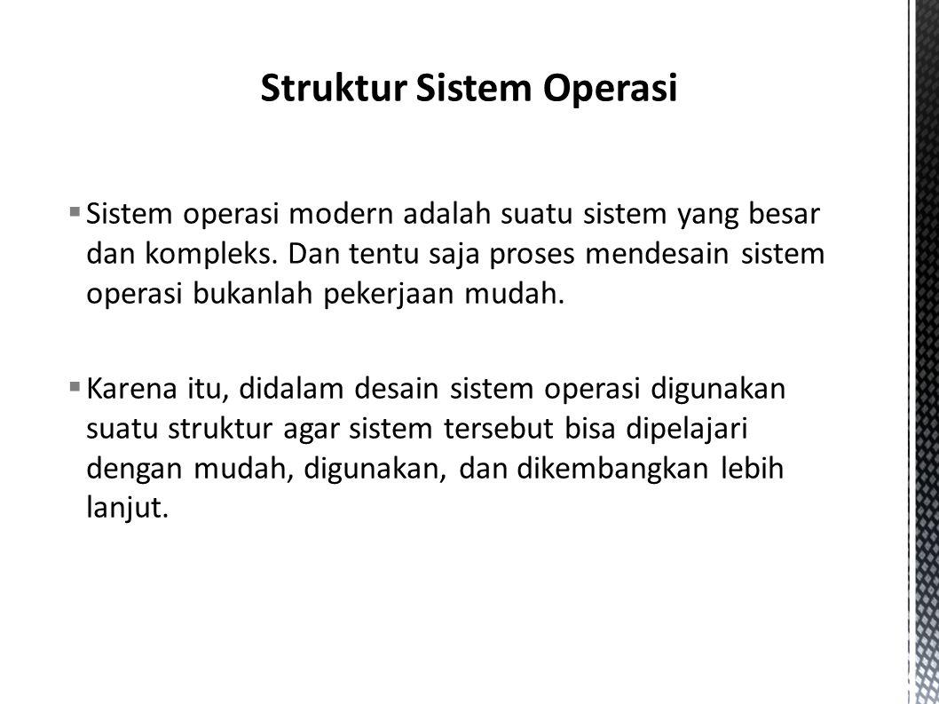  Sistem operasi modern adalah suatu sistem yang besar dan kompleks.