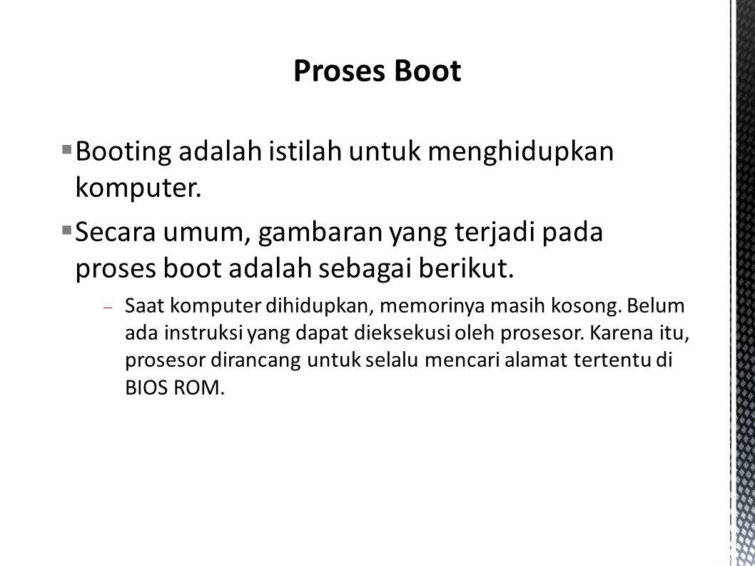  Booting adalah istilah untuk menghidupkan komputer.