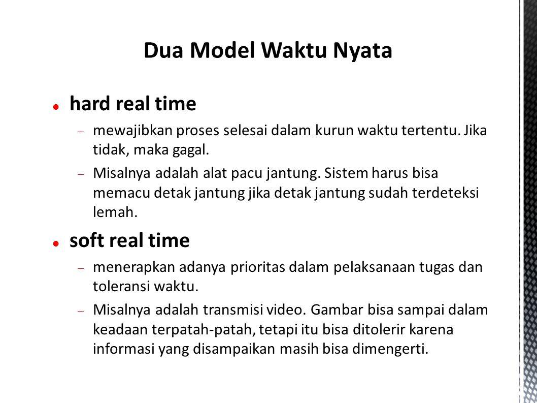 hard real time  mewajibkan proses selesai dalam kurun waktu tertentu.
