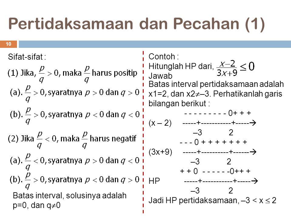 Pertidaksamaan dan Pecahan (1) 10 Sifat-sifat : Batas interval, solusinya adalah p=0, dan q  0 Contoh : Hitunglah HP dari, Jawab Batas interval perti