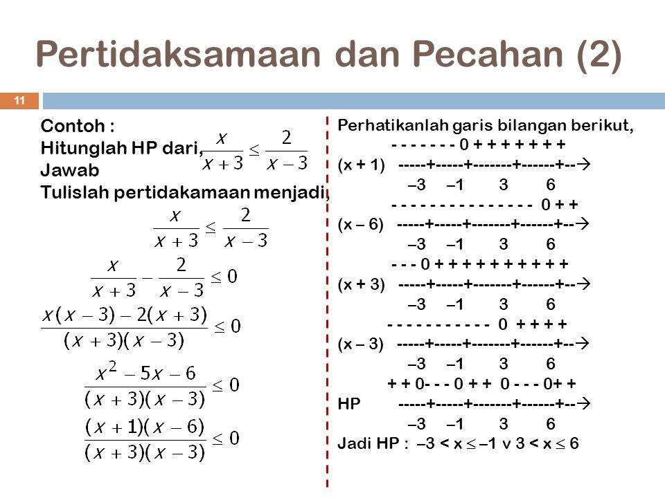 Pertidaksamaan dan Pecahan (2) 11 Contoh : Hitunglah HP dari, Jawab Tulislah pertidakamaan menjadi, Perhatikanlah garis bilangan berikut, - - - - - -