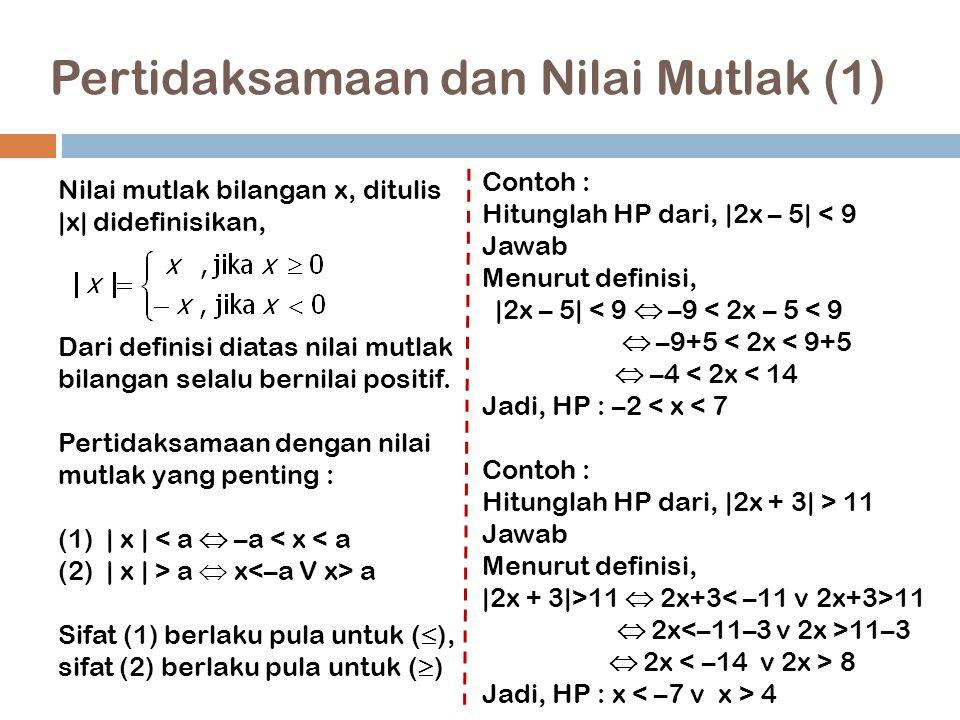 Pertidaksamaan dan Nilai Mutlak (1) 13 Nilai mutlak bilangan x, ditulis  x  didefinisikan, Dari definisi diatas nilai mutlak bilangan selalu bernilai