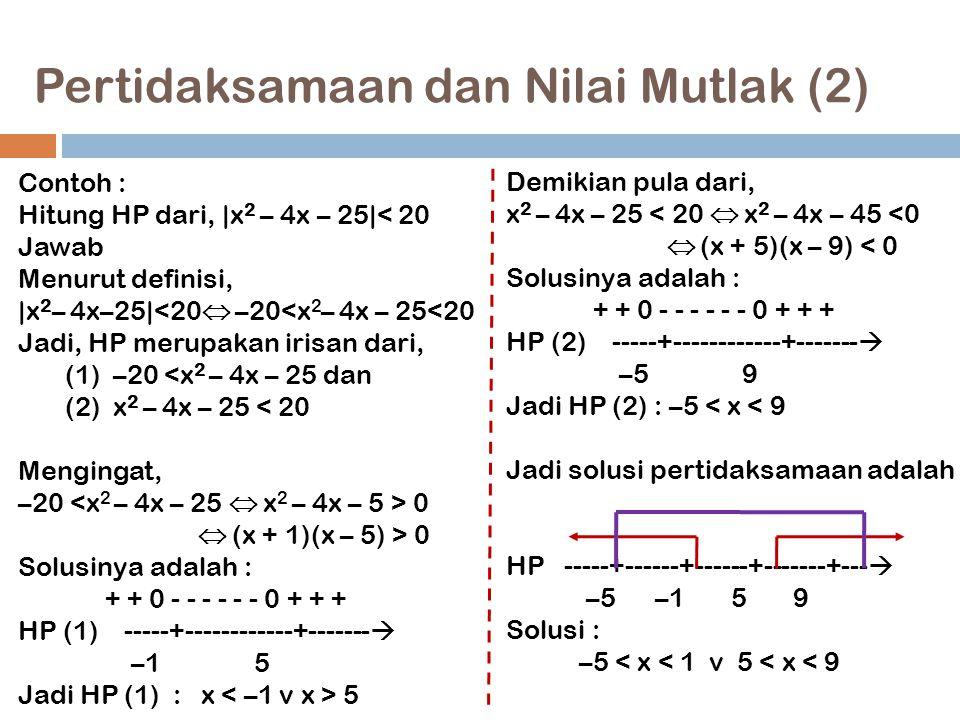 Pertidaksamaan dan Nilai Mutlak (2) 14 Contoh : Hitung HP dari,  x 2 – 4x – 25 < 20 Jawab Menurut definisi,  x 2 – 4x–25 <20  –20<x 2 – 4x – 25<20 Ja