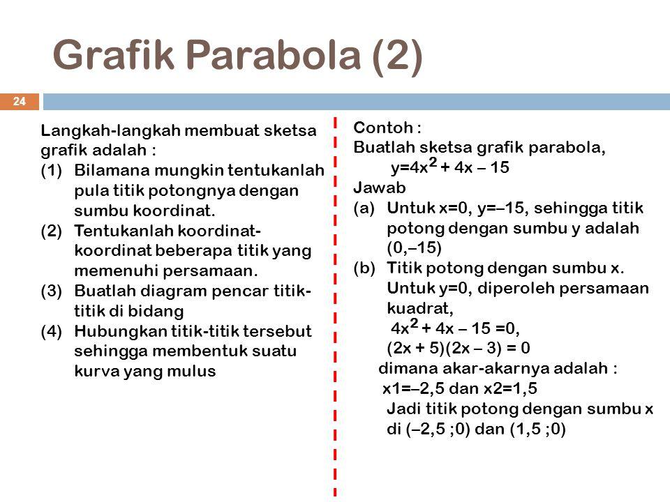 Grafik Parabola (2) 24 Langkah-langkah membuat sketsa grafik adalah : (1)Bilamana mungkin tentukanlah pula titik potongnya dengan sumbu koordinat. (2)