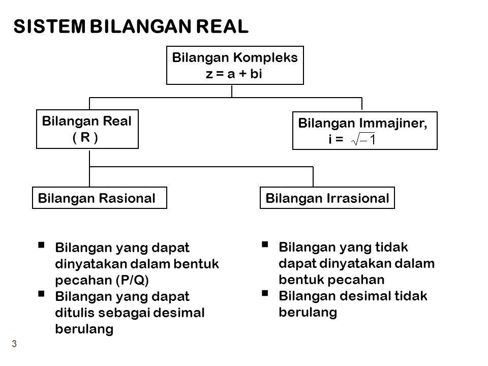 4 Garis Bilangan Real  Bilangan real dinyatakan dengan notasi R.