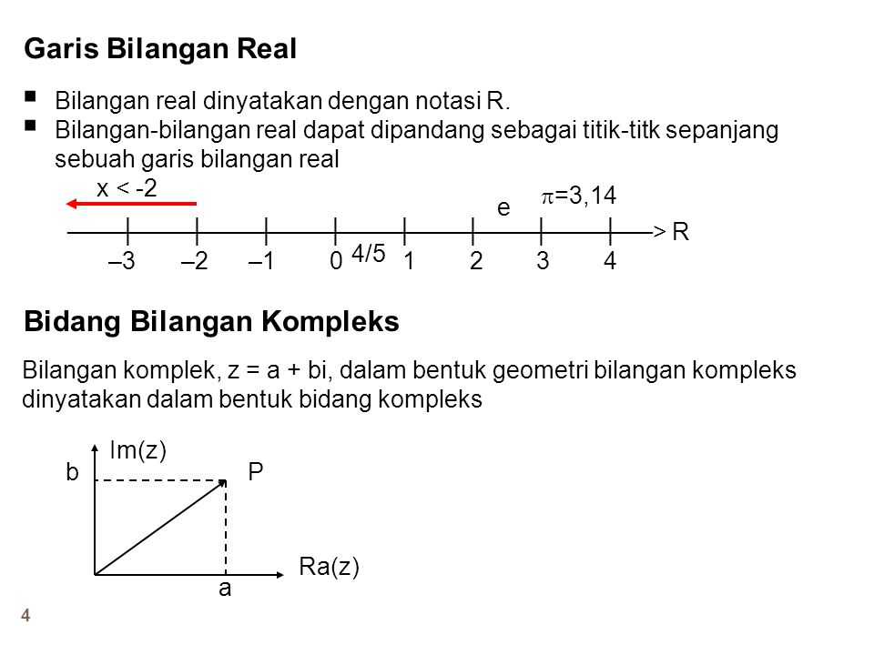 4 Garis Bilangan Real  Bilangan real dinyatakan dengan notasi R.  Bilangan-bilangan real dapat dipandang sebagai titik-titk sepanjang sebuah garis b