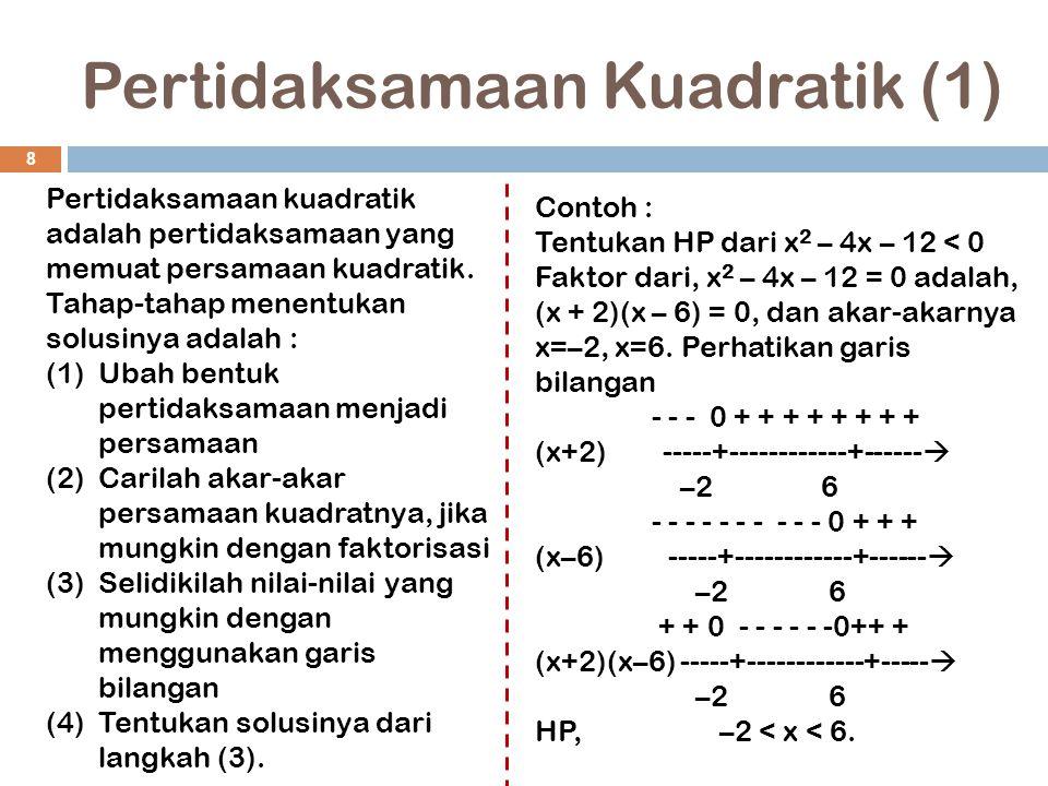 Pertidaksamaan Kuadratik (2) 9 Contoh : Tentukan HP dari 2x 2 + 3x – 9  0 Faktor, 2x 2 + 3x – 9 = 0 adalah, (2x – 3)(x + 3) = 0, dan akar- akarnya x=3/2, x=–3.