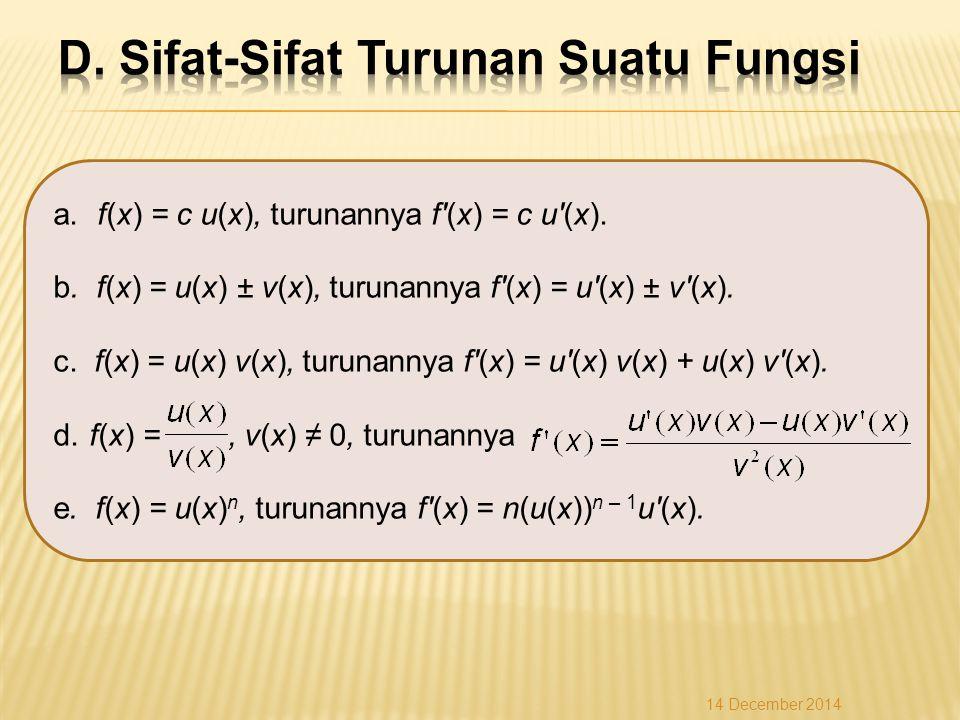 a.f(x) = c u(x), turunannya f (x) = c u (x). b.