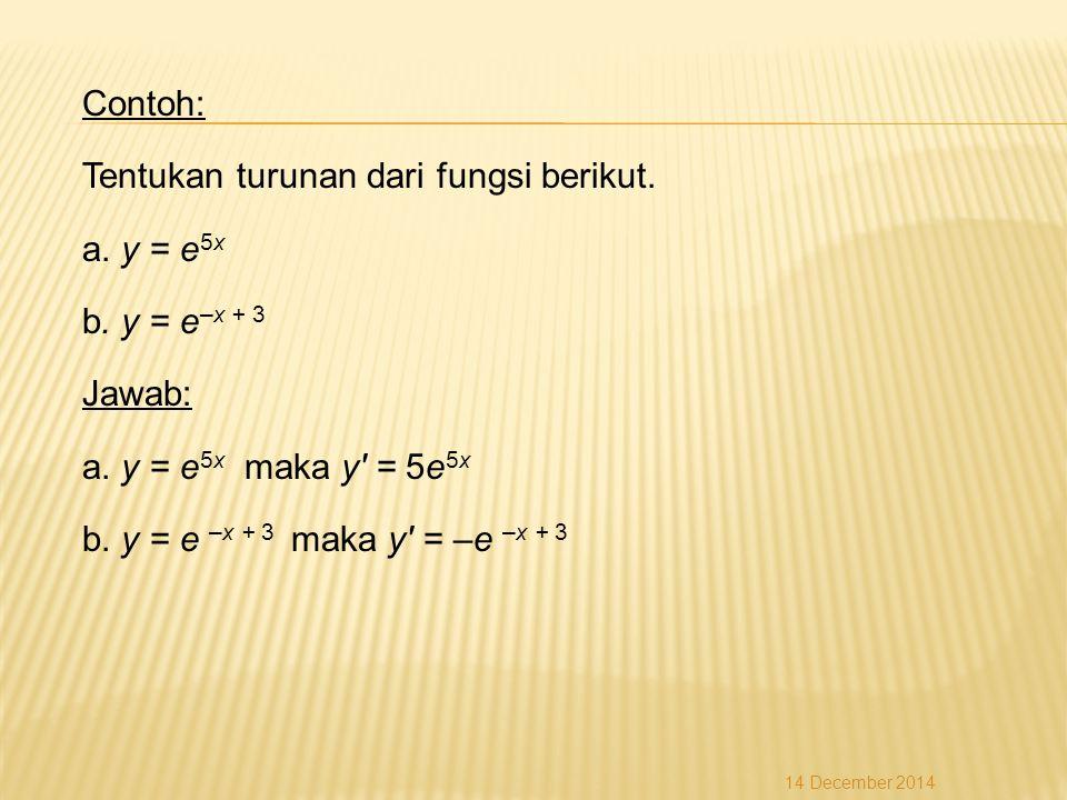Contoh: Tentukan turunan dari fungsi berikut.a. y = e 5x b.