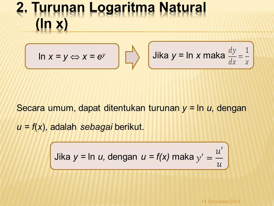 Secara umum, dapat ditentukan turunan y = ln u, dengan u = f(x), adalah sebagai berikut.